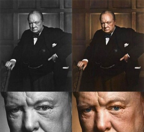 Winston Churchill Color Photo