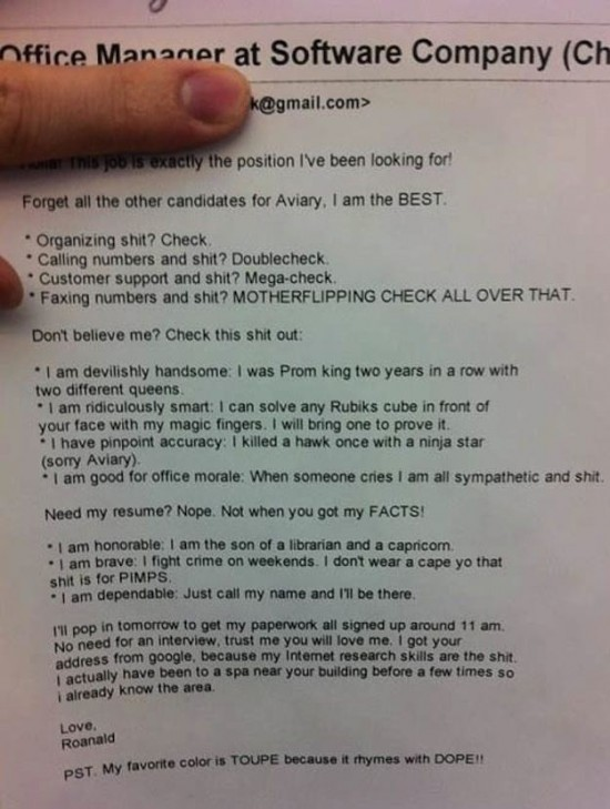 22 Hilarious Resumes and Job Applications - FunCage