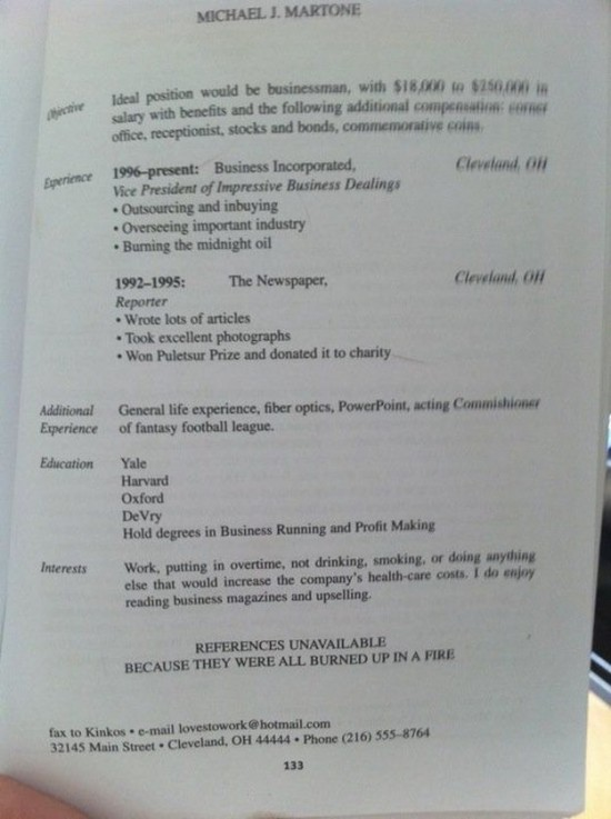 22 hilarious resumes and job applications
