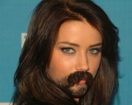 Female celebrities with facial hair