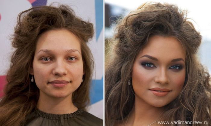Woman before and after makeup that necessary