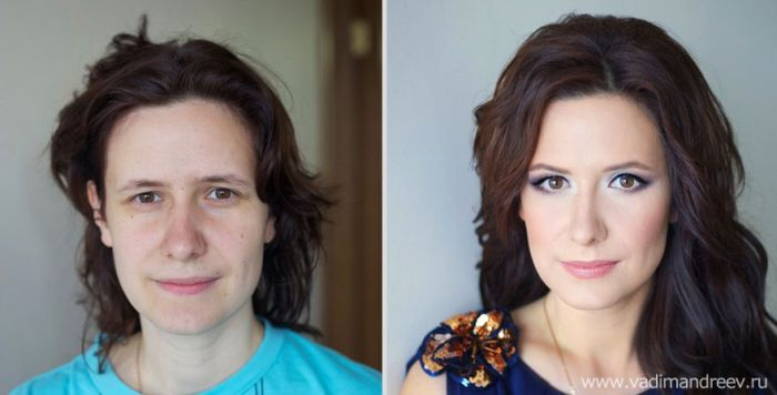 Clearly Bravo, woman before and after makeup