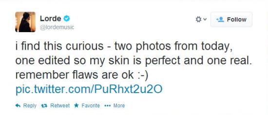 Lorde's Tweet