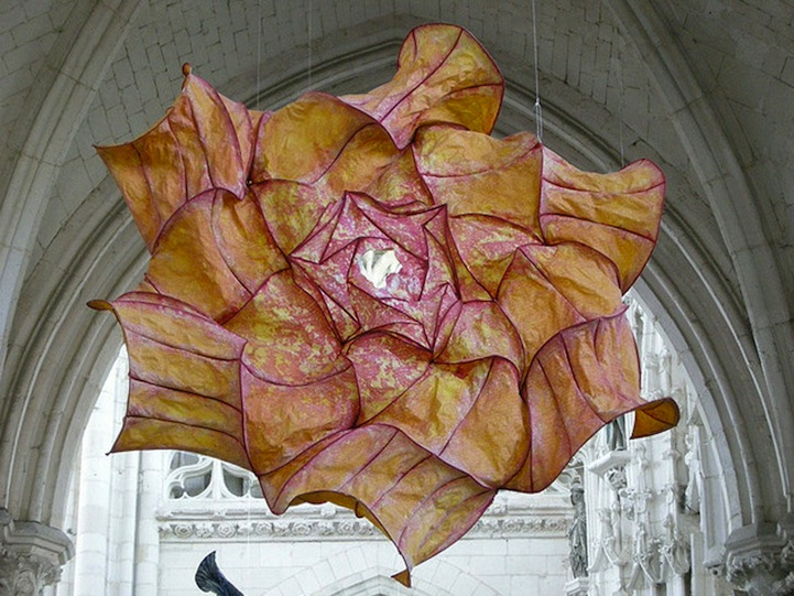 Billowing Ruffles of Colorful Paper Sculptures Float Overhead 001