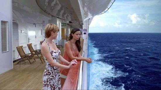 After a cruise ship on the ocean