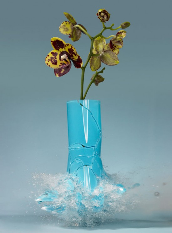 These high-speed photos capture delicate flower vases shattering in mid-air 003