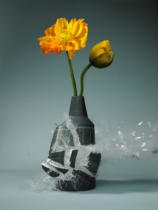 These high-speed photos capture delicate flower vases shattering in mid-air 007