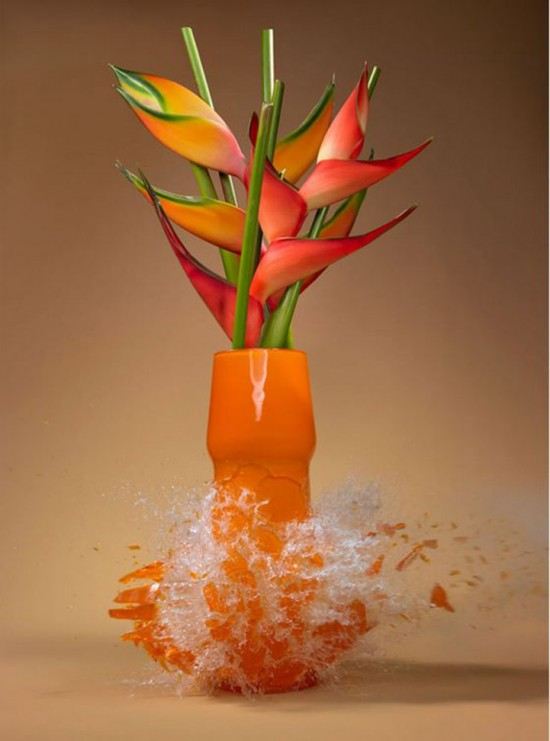 These high-speed photos capture delicate flower vases shattering in mid-air 010
