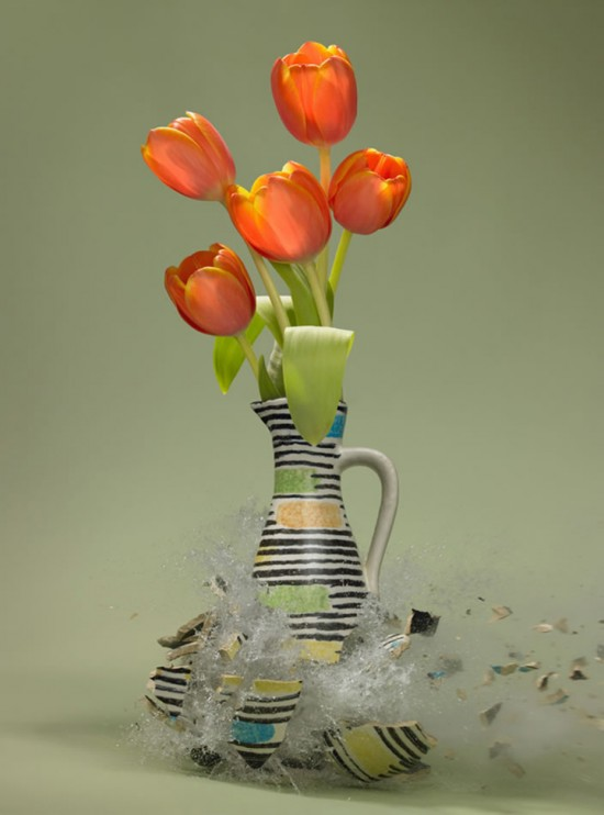 These high-speed photos capture delicate flower vases shattering in mid-air 013