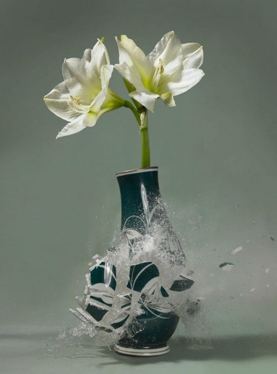 These high-speed photos capture delicate flower vases shattering in mid-air 018