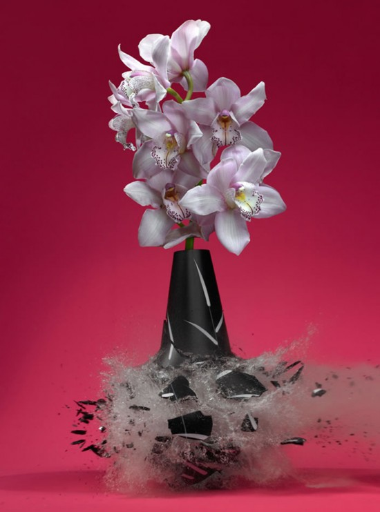 These high-speed photos capture delicate flower vases shattering in mid-air 020