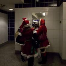 Santas in Bathroom