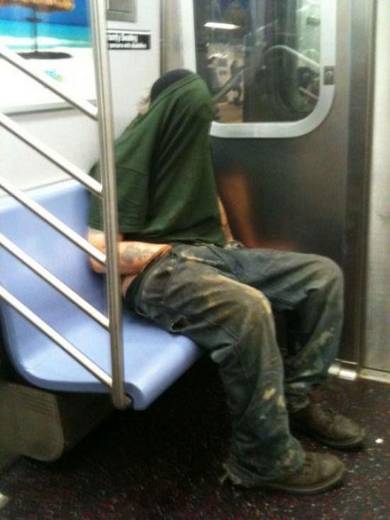 man wanking on train
