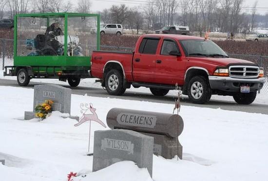 Dead Biker Buried Riding Harley in Giant Transparent Casket 003