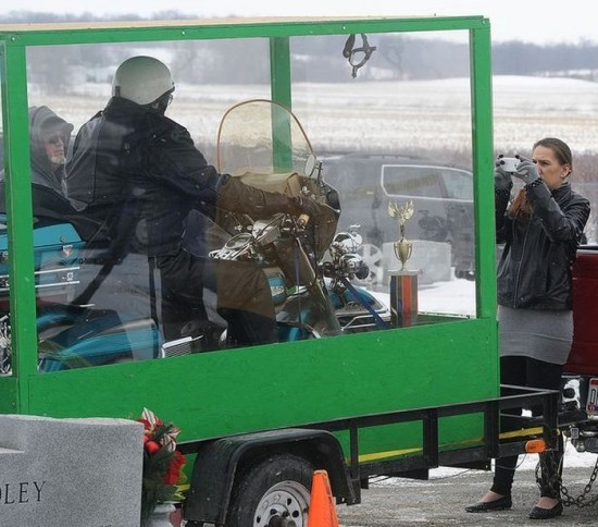 Dead Biker Buried Riding Harley in Giant Transparent Casket 004