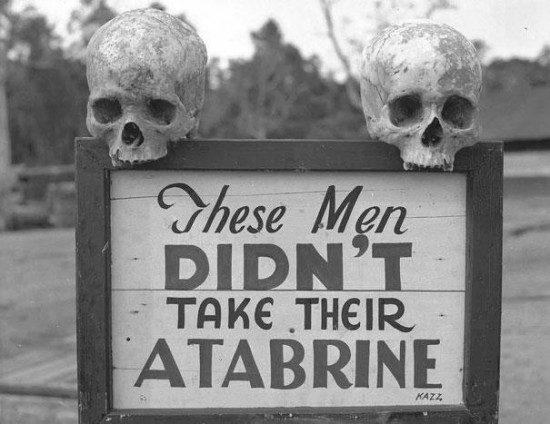 Advertisement for Atabrine, anti-malaria drug, in Papua, New Guinea during WWII