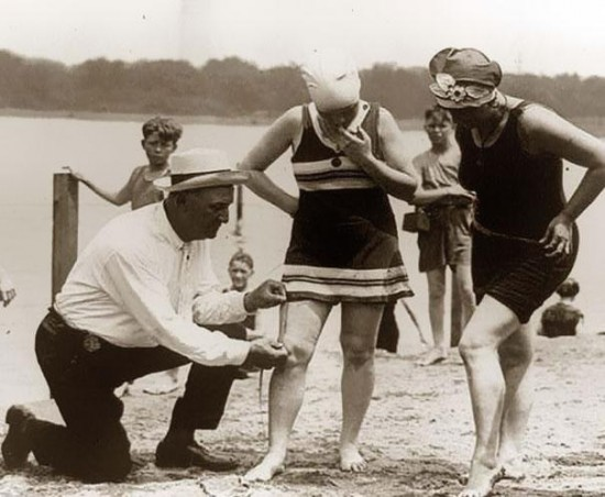 Measuring bathing suits – if they were too short, women would be fined, 1920′s