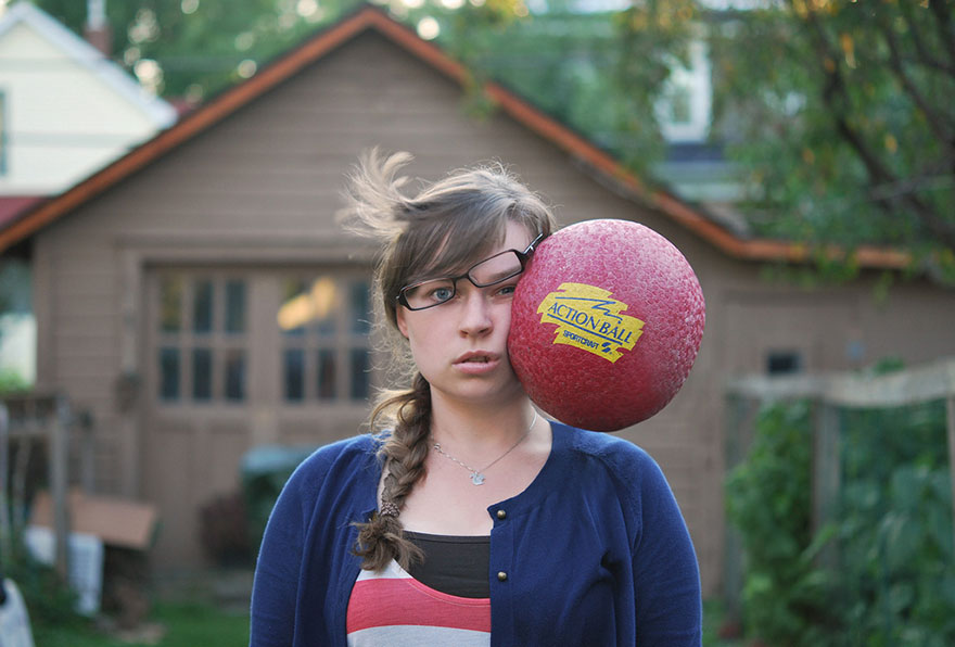 Stuff Being Thrown at My Head Painfully Funny Self-Portraits by Kaija Straumanis 001