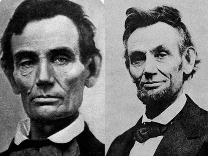 Abraham Lincoln Before (1858) and After (1865)