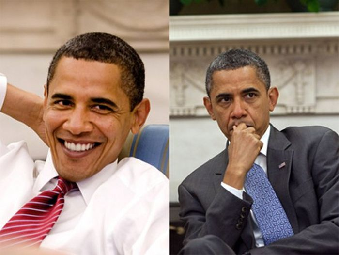 Barack Obama Before (2009) and Current (2011)