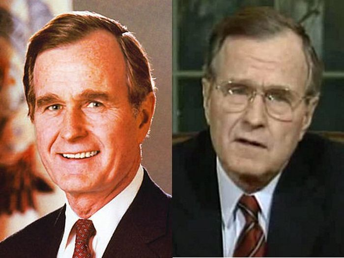 George H. W. Bush Before (1989) and After (1993)