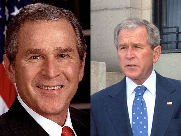 George W. Bush Before (2001) and After (2008)