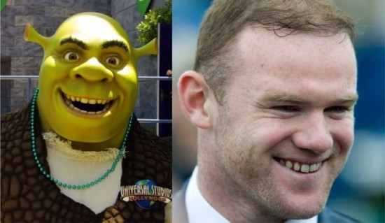 Shrek and Wayne Rooney