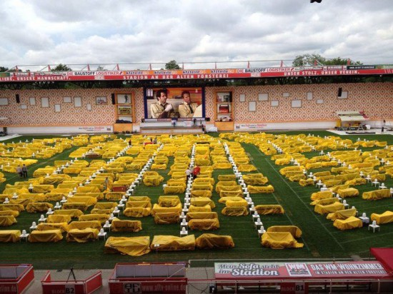 Stadium in Berlin Gets Turned Into Giant Living Room with 750 Couches and 700″ TV 004