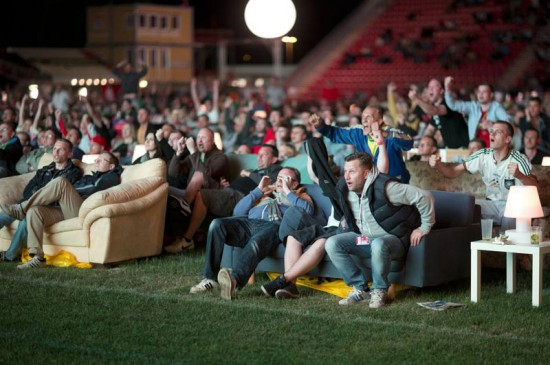 Stadium in Berlin Gets Turned Into Giant Living Room with 750 Couches and 700″ TV 006