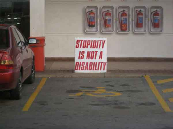 Stupidity-is-not-a-disability - Funny Signs - Jokes and Humor